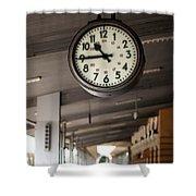 Railway Station Clock Shower Curtain by Deyan Georgiev