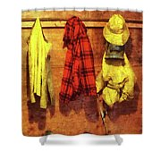 Rain Gear And Red Plaid Jacket Shower Curtain by Susan Savad