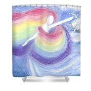 Rainbow Goddess Shower Curtain by Cassandra Geernaert