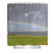 Rainbow, Island Of Iona, Scotland Shower Curtain by John Short