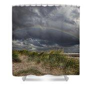 Rainbow Lighthouse Shower Curtain by Adrian Evans
