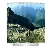 Rainbow Over Machu Picchu Shower Curtain by James Brunker