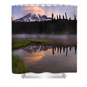 Rainier Lenticular Sunrise Shower Curtain by Mike  Dawson