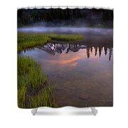 Rainier Sunrise Cap Shower Curtain by Mike  Dawson