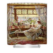 Reading By The Window Shower Curtain by Charles James Lewis