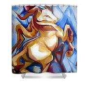 Rearing Horse Shower Curtain by Leyla Munteanu
