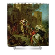 Rebecca Kidnapped By The Templar Shower Curtain by Ferdinand Victor Eugene Delacroix