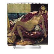 Reclining Odalisque Shower Curtain by Ferdinand Victor Eugene Delacroix