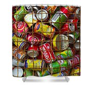 Recycling Cans Shower Curtain by Carlos Caetano