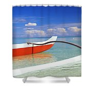 Red And White Canoe Shower Curtain by Dana Edmunds - Printscapes