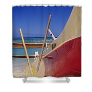 Red And Yellow Canoe Shower Curtain by Joss - Printscapes