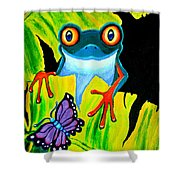 Red Eyed Tree Frog and Purple Butterfly Shower Curtain by Nick Gustafson