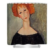 Red Head Shower Curtain by Amedeo Modigliani
