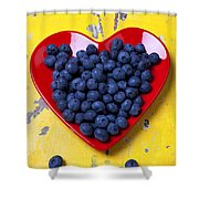 Red Heart Plate With Blueberries Shower Curtain by Garry Gay