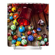 Red Jar With Marbles Shower Curtain by Garry Gay