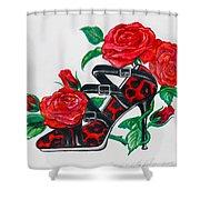 Red Leopard Roses Shower Curtain by Karon Melillo DeVega