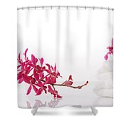 Red Orchid With Towel Shower Curtain by Atiketta Sangasaeng