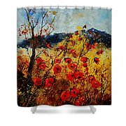 Red Poppies In Provence  Shower Curtain by Pol Ledent