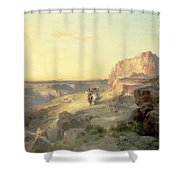Red Rock Trail Shower Curtain by Thomas Moran