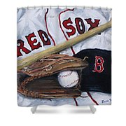 Red Sox Number Six Shower Curtain by Jack Skinner