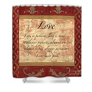 Red Traditional Love Shower Curtain by Debbie DeWitt