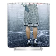Red Umbrella Shower Curtain by Joana Kruse