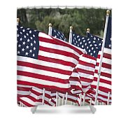 Red White And Blue Shower Curtain by Jerry McElroy