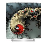 Red Yellow Grey And Black - Amazing Mandelbrot Fractal Shower Curtain by Matthias Hauser