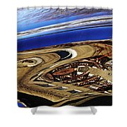 Reflection On A Parked Car 11 Shower Curtain by Sarah Loft