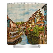Reflections Of Colmar Shower Curtain by Charlotte Blanchard