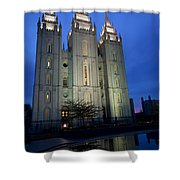 Reflective Temple Shower Curtain by Chad Dutson