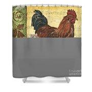 Retro Rooster 2 Shower Curtain by Debbie DeWitt