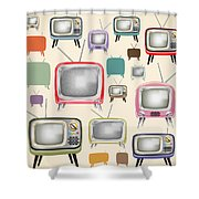 retro TV pattern  Shower Curtain by Setsiri Silapasuwanchai