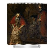 Return Of The Prodigal Son Shower Curtain by Rembrandt Harmenszoon van Rijn