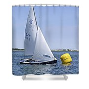 Rhodes 18 Rounding The Mark Shower Curtain by Charles Harden