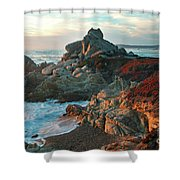 Ribera Beach Sunset Carmel California Shower Curtain by Charlene Mitchell