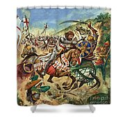 Richard the Lionheart during the Crusades Shower Curtain by Peter Jackson