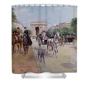 Riders And Carriages On The Avenue Du Bois Shower Curtain by Georges Stein
