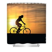Riding At Sunset Shower Curtain by Dave Fleetham - Printscapes