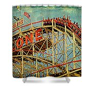 Riding The Cyclone Shower Curtain by Chris Lord