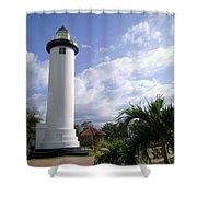 Rincon Puerto Rico Lighthouse Shower Curtain by Adam Johnson