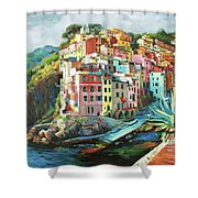 Riomaggiore Italy Shower Curtain by Conor McGuire