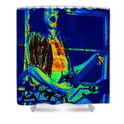 Rock 'n' Roll The Cosmic Blues Shower Curtain by Ben Upham