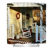 Rocking Chair On Side Porch Shower Curtain by Susan Savad