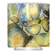 Rocks And Feather Shower Curtain by Marlene Gremillion