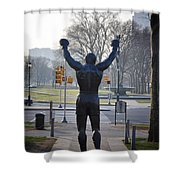 Rocky Statue From The Back Shower Curtain by Bill Cannon