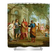 Roland Learns Of The Love Of Angelica And Medoro  Shower Curtain by Louis Galloche