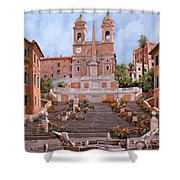 Rome-piazza Di Spagna Shower Curtain by Guido Borelli