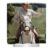 Ronald Reagan On Horseback  Shower Curtain by War Is Hell Store