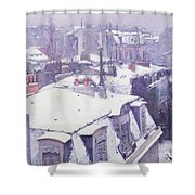 Roofs under Snow Shower Curtain by Gustave Caillebotte